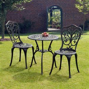 Aluminium Garden Bench Sussex Black Cast Aluminium Bistro Set