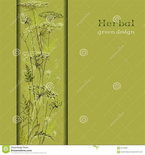 design background vertical hand drawn green herbs vertical border design background