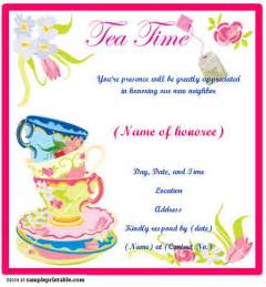 tea invitation printable tea invitation sleprintable