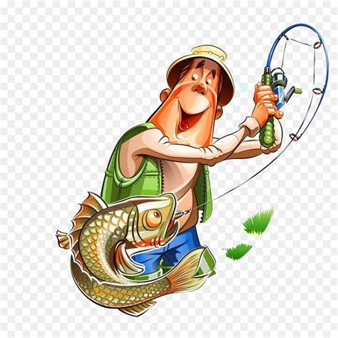 cartoon man in boat fishing fishing rod cartoon fisherman cartoon fishing man png