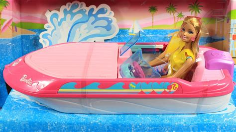 barbie on a boat barbie glam boat with canopy and doll barbie motor 243 wka z