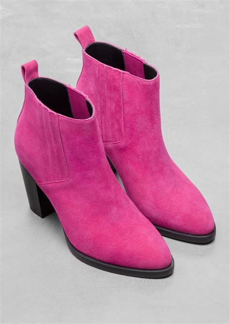 mens pink boots other stories suede ankle boots in pink lyst