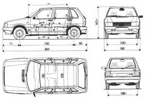 Fiat Uno Dimensions Car Blueprints 1983 Fiat Uno 87 Hatchback Blueprint
