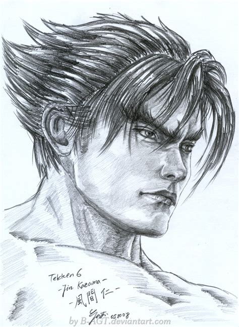 sketch book gambar jin kazama tekken by b agt on deviantart