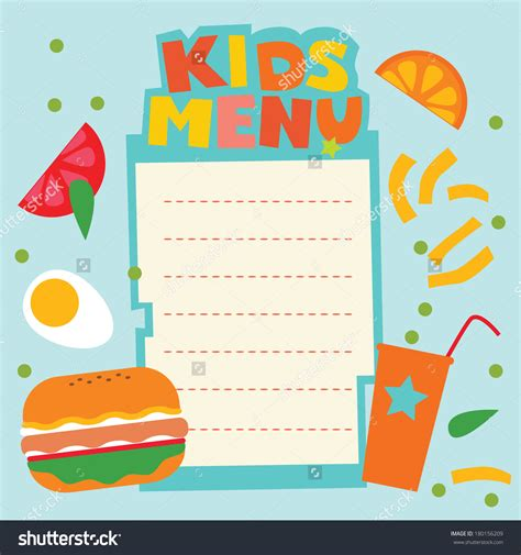 kid menu template menu template