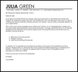 Restaurant Server Cover Letter Sample Livecareer