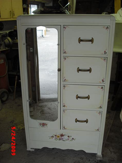 White Chifferobe Armoire by Handpainted Furniture Shabby Chic Vintage Painted