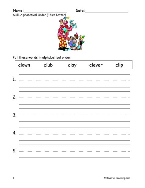 4 Letter Words In Alphabetical Order alphabetical order worksheets page 4 of 6 teaching