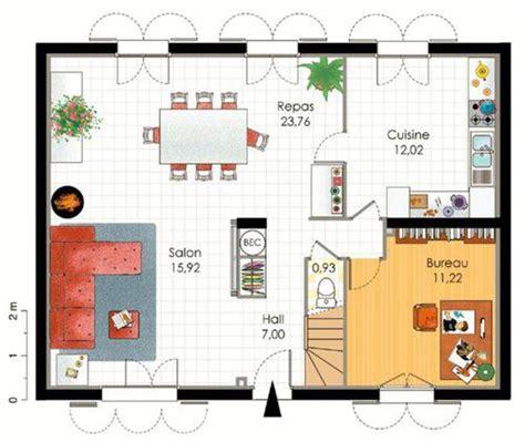 plan pavillon 100m2 plan maison 100m2 4 chambres plan maison m a etage with