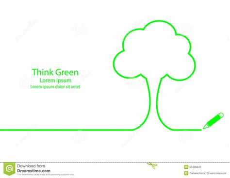 Tree Outline Green by Think Green Stock Vector Image 50435043