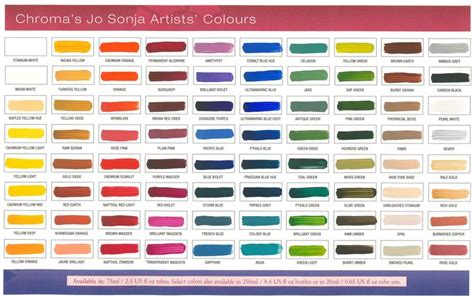 which is your favorite jo sonja color shown jo sonja painted color chart chroma s jo