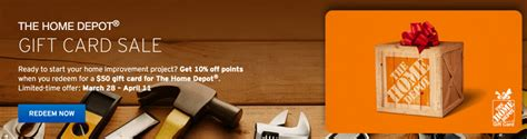 Home Depot Gift Card Discount - citi thankyou home depot gift card promotion 4 500 points for 50 gift card