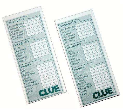 Printable Clue Sheets