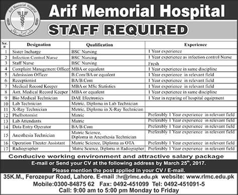 arif memorial hospital lahore jobs  march medical