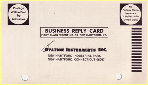 Business Reply Card ovation business reply card