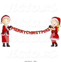 Merry christmas banner clipart cartoon vector of a happy boy and girl