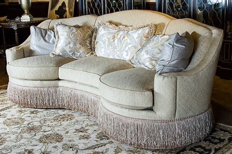 sofa with fringe skirt century furniture bayview curved 3 cushion sofa with