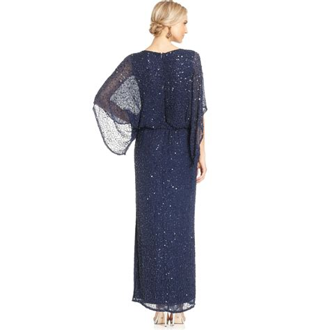 beaded blouson dress patra kimonosleeve beaded blouson gown in blue lyst