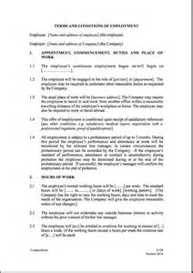 contract of employment templates free printable employment contract sle form generic