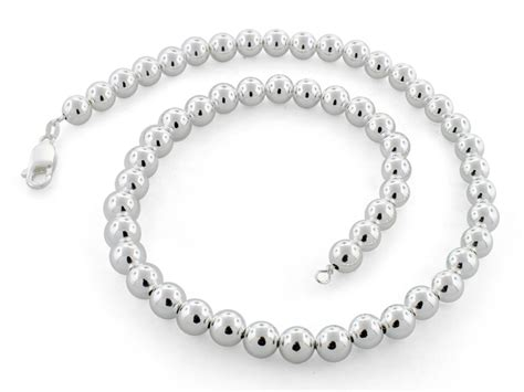 """Sterling Silver 18"""" Hollow Bead Chain Necklace 8mm"""