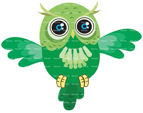 owl item items similar to green owl clipart digital clipart cute