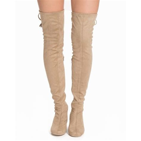 nly shoes low heel thigh high boot 53 liked on polyvore