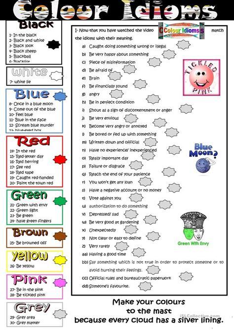 color idioms 329 free esl idiom worksheets