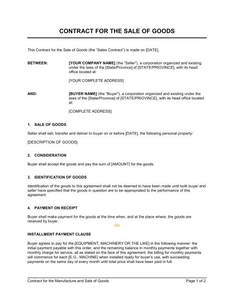 Contract For The Sale Of Goods Template Sle Form Biztree Com Contract For Sale Of Goods Template Free