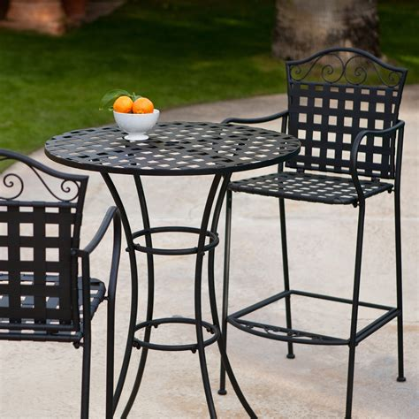 wrought iron bistro table and chair set coral coast woven wrought iron bar height bistro set