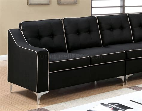 Black Fabric Sectional Sofa Glenda Ii Sectional Sofa Cm6851bk In Black Fabric
