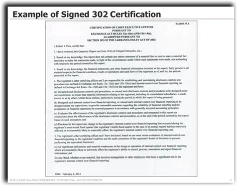 section 302 certification sle image gallery sox 404 exles