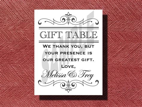 Gift Table Sign by Printable Wedding Reception Gift Table Sign