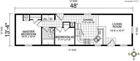1 bedroom mobile homes floor plans chion redman manufactured mobile homes floor