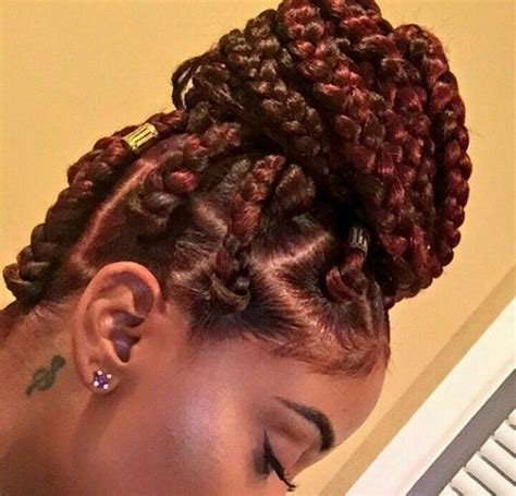 red braids in a bun 42 chunky cool jumbo box braids styles in every length