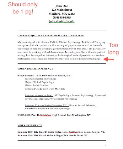 Psychology Resume Sample by The Psychology Of Resume Building College Magazine