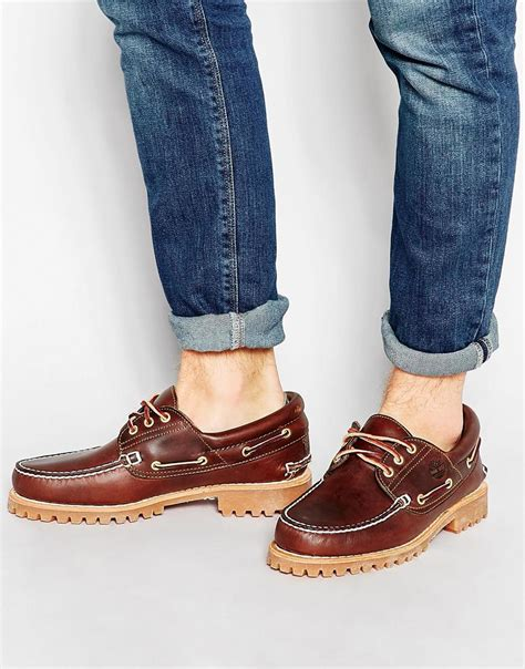 timberland boat shoes on feet timberland classic lug boat shoes in brown for men lyst