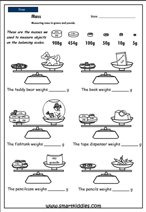 Measuring Mass Worksheet by Measuring Mass In Pounds And Grams Mathematics Skills
