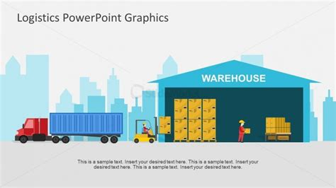 logistics powerpoint template color view of warehouse and truck slide slidemodel