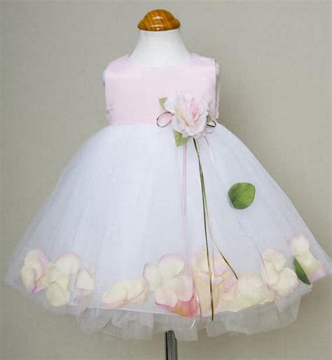 pink satin flower dress for baby