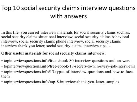 top 10 social security claims questions with answers
