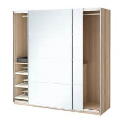 ikea pax kleiderschrank pax wardrobe white stained oak effect auli mirror glass