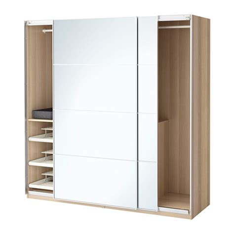 Ikea Wardrobes With Mirror by Pax Wardrobe White Stained Oak Effect Auli Mirror Glass 200x66x201 Cm Ikea