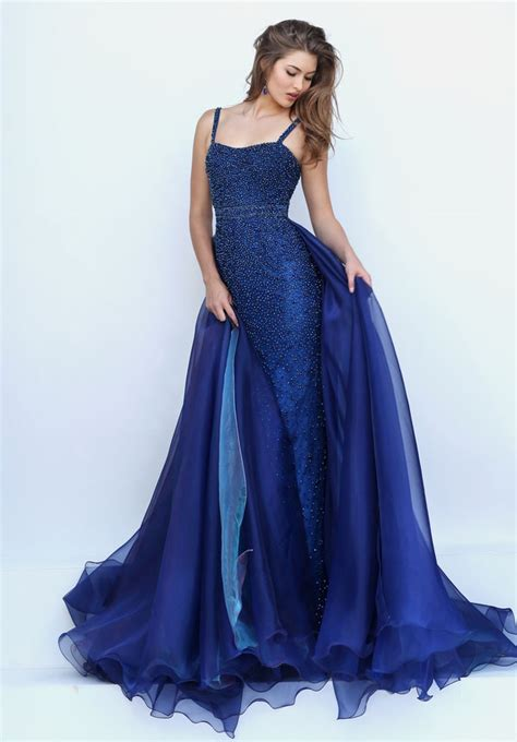Saten Royal Silk Sale fully beaded navy blue satin sheath prom dress with