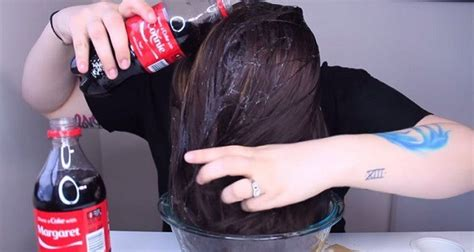 coke in curly hair she pours bottle of coke over her hair you must see the