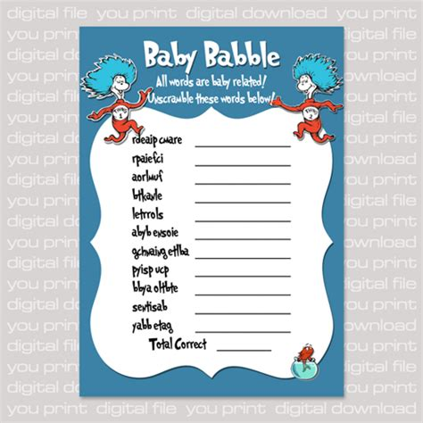 dr seuss baby shower printables dr seuss inspired baby shower baby word babble card blue