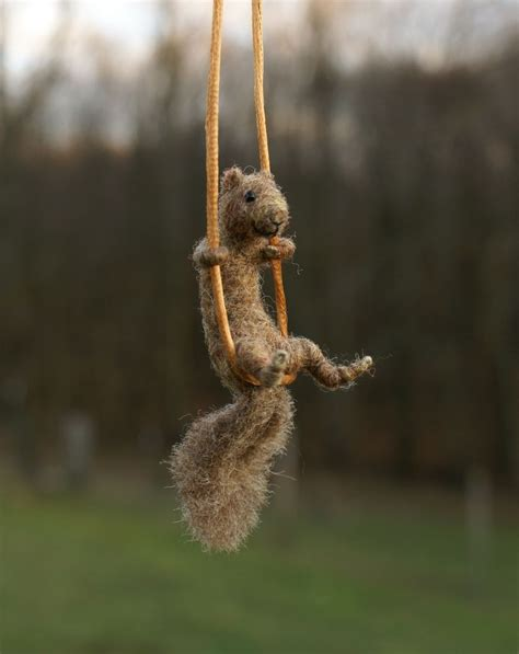 squirrel swing green chameleon needle felted miniature