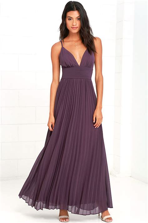 Dress Maxi Purple Elegan stunning dusty purple dress pleated maxi dress purple gown 78 00