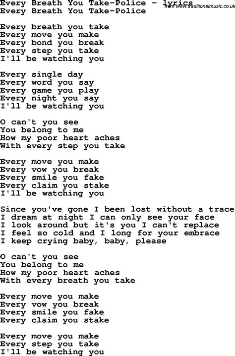 take breath away testo every breath you take lyrics search quotesilove