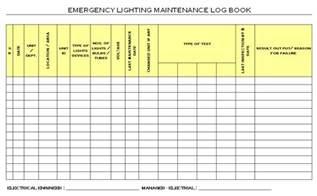 emergency lighting maintenance logbook format samples