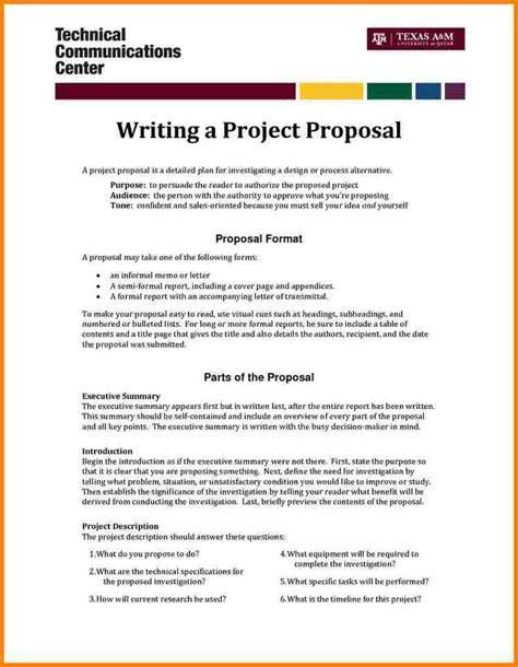 4 format of simple project proposal proposal template 2017